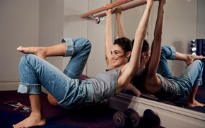 Picture smile, jeans, actress, mirror, Gal Gadot