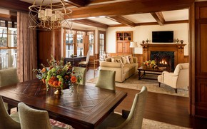 Picture interior, fireplace, living room, dining room, English style