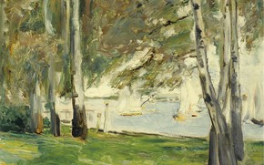 Picture landscape, boat, picture, sail, 1924, Max Liebermann, Max Liebermann, Birch trees on the Eastern Shore …