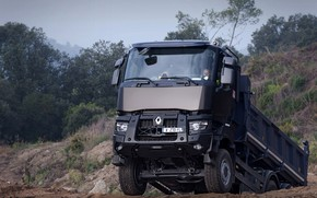 Picture vegetation, Renault, body, the rise, quarry, dump truck, triaxial, Renault Trucks, K-series