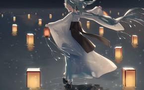Picture girl, night, lake, Hatsune Miku, lanterns, Vocaloid, Vocaloid, Hatsune Miku