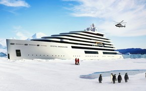 Picture The ocean, Sea, Yacht, Liner, Helicopter, Penguins, The ship, Rendering, Passenger ship, Cruise Ship, Passenger …