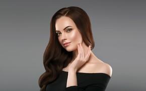 Picture girl, model, hair, hand, makeup, dress, black, hairstyle, curls, Ryabusjkina Irina