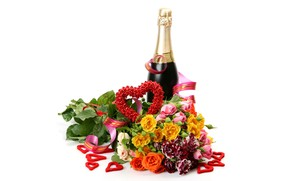Picture flowers, holiday, bottle, roses, bouquet, hearts, white background, champagne, Valentine's day, ribbon