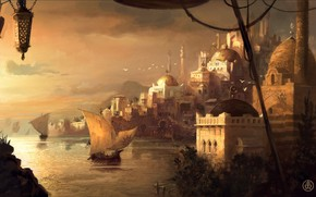 Picture sea, Istanbul, harbour, Istanbul, the minaret, sailboats, the mosque, pink sky, The Ottoman Empire, 1404