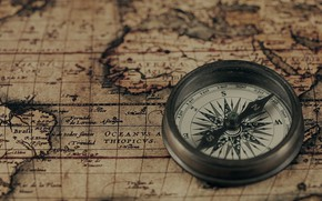 Picture vintage, vintage, compass on ancient map, old compass, old compass, compass on the old map