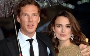 Picture The imitation game, umbrella, Keira Knightley, Benedict Cumberbatch, Benedict Cumberbatch, celebrity