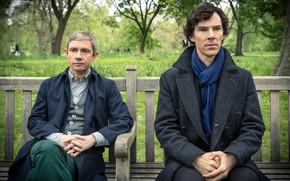 Picture bench, Park, the conversation, Sherlock Holmes, Martin Freeman, Benedict Cumberbatch, Sherlock, Sherlock BBC, Sherlock Holmes, …