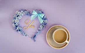 Picture love, flowers, heart, love, heart, blue, flowers, romantic, forget-me-nots, coffee cup, a Cup of coffee, …