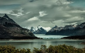 Wallpaper ice, the sky, clouds, snow, trees, mountains, lake, overcast, shore, foliage, tops, ice, glacier, pond, ...