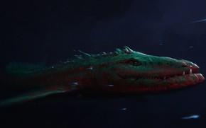 Picture Sea, Monster, Fantasy, Art, Fiction, Beast, Illustration, Roman Avseenko, by Roman Avseenko, Depth, Sea monster