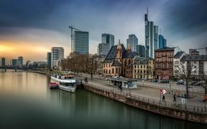 Picture river, building, Germany, promenade, Frankfurt am main