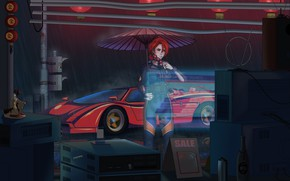 Picture Girl, Auto, Machine, Style, Umbrella, TV, Technique, Style, Illustration, 80's, Synth, Retrowave, Synthwave, New Retro …