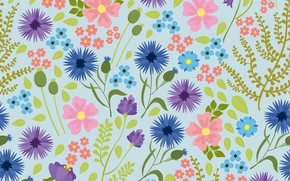 Picture flowers, background, blue, texture, background, blurry