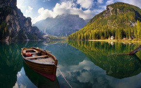Picture Nature, Mountains, Lake, Boat