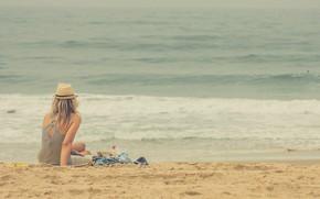 Picture sea, beach, summer, girl, book, hat