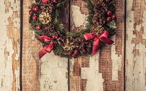 Picture decoration, New Year, Christmas, Christmas, wreath, wood, New Year, decoration, wreath, Merry
