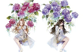 Picture flowers, girls, swing, anime, art, painting