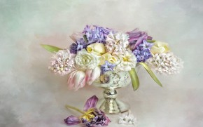 Picture leaves, flowers, bouquet, yellow, petals, art, tulips, vase, pink, white, still life, painting, light background, …