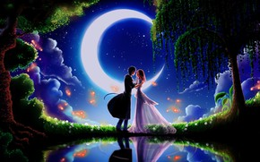 Picture the sky, dream, girl, stars, trees, night, green grass, meeting, a month, Prince, guy, lovers, …