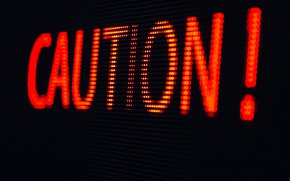 Picture lights, caution, poster