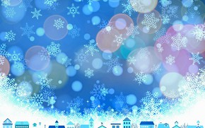 Picture winter, snowflakes, the city, home, texture, Christmas, New year, houses, blue background, bokeh