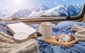 Picture snow, mountains, comfort, tea, map, window, compass, marshmallows