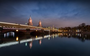 Picture bridge, tower, Germany, the city, lights, night, river, Berlin