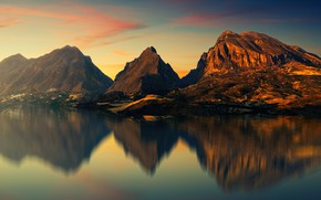 Picture the sky, water, clouds, light, sunset, mountains, reflection, rocks, shore, the slopes, tops, the evening, …