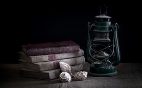 Picture background, books, lamp