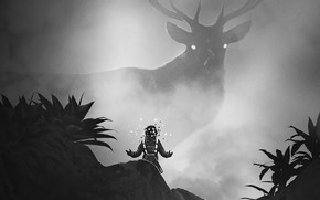 Picture The suit, People, Deer, Fantasy, Art, Animal, Black and white, Environments, Anupam Arts, by Anupam ...