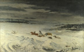 Picture winter, landscape, picture, Gustave Courbet, Gustave Courbet, Stagecoach in the Snow