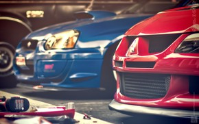 Picture Red, Cars, Blue, STI, Evo