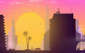 Wallpaper Sunset, The sun, Minimalism, The city, Art, Synth, Sunset City, Retrowave, Synthwave, New Retro Wave, ...