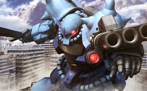 Picture the city, weapons, robot, dust, Mobile Suit Gundam