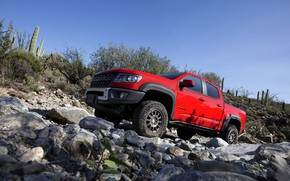 Picture the sky, red, stones, Chevrolet, pickup, Colorado, 2019, ZR2 Bison