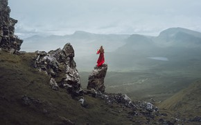 Picture girl, rocks, dress, in red, Lizzy Gadd, Isolated Desolation