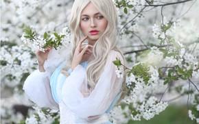 Picture look, girl, branches, nature, cherry, spring, makeup, dress, blonde, flowering, Irina Golubyatnikova