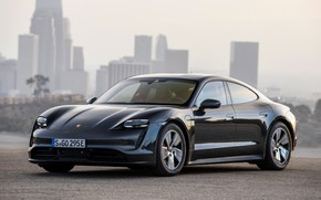 Picture black, Porsche, on the background of the city, 2020, Taycan, Taycan 4S