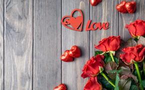 Picture Love, roses, candy, romantic, Valentine's Day, serdechki