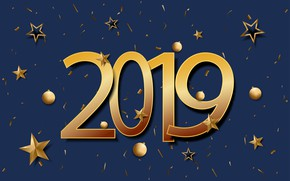 Picture background, gold, New Year, figures, golden, New Year, Happy, 2019