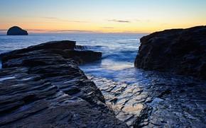 Picture sea, the sky, sunset, blue, stones, rocks, coast, horizon