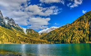 Picture autumn, forest, clouds, snow, mountains, lake, blue, shore, the slopes, tops, yellow, contrast, bright colors, …