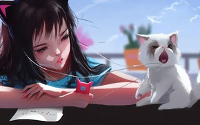 Picture face, hands, headphones, girl, phone, played, blue sky, bangs, cat ears, white kitten, posting