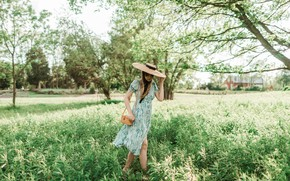 Picture summer, girl, the sun, trees, nature, pose, hat, bag