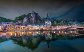 Picture bridge, reflection, river, building, mountain, home, Church, Belgium, Belgium, Dinant, River Meuse, Dinan, Church Of …