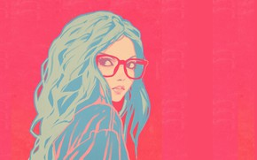 Picture face, glasses, pink background, shoulder, blue hair, portrait of a girl, curly hair, Ilya Kuvshinov