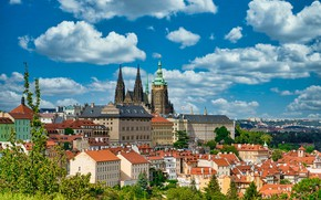 Picture the sky, clouds, building, home, Prague, Czech Republic, Prague, Czech Republic