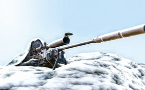 Picture snow, art, sniper, rifle, in the winter