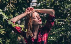 Picture Girl, shirt, beautiful, flowers, Viktor Kobzev
